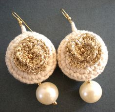 Ivory Crocheted Earrings with Golden Rosettes and Pearls