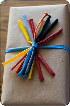 "Balloons tied into a ""bow""...kids would love that! 31 Ways To Wrap Gifts."
