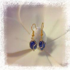 Boucle d'oreille avec la pierre Agate Bleue porte bonheur : Boucles d'oreille par les-tresors-d-eva