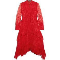 ERDEM  Nigella ruffled lace dress ($2,750) ❤ liked on Polyvore featuring dresses, lace cocktail dresses, flounce dress, red lace dresses, frilly dresses and lace dress