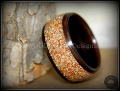 Bentwood Ring - Macassar Ebony with Golden Bronze Glass Inlay - Bentwood Jewelry Designs - Custom Handcrafted Bentwood Wood Rings  - 1