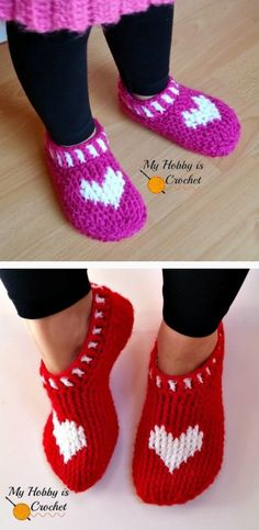Crochet Heart Slippers Free Patterns For The Whole Family