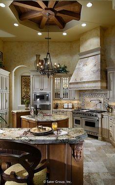 Cabin Kitchens, Luxury Kitchens, Diy Interior Furniture, Bay Window Exterior, Mediterranean Style Homes, Dream Rooms, Custom Homes, Kitchen Decor, Kitchen Ideas