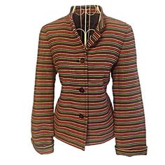 NWT Talbots 8P Striped Suit! Matching Skirt! Look at those colors up close on the 3rd pic- so cute! Oversized, gold trim buttons! Matching skirt! Will sell separate for the right price! Mix and match it with black skirt would be smart! Talbots Jackets & Coats Blazers