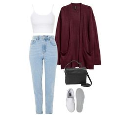 #373 h&m crop top - /market/ tally weijl cardigan - /market/ levi's jeans - h&m slip on - polyvore >> glamoutfit app or stuffnstyle.com