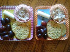 Grapes, string cheese, multigrain crackers, tuna spread