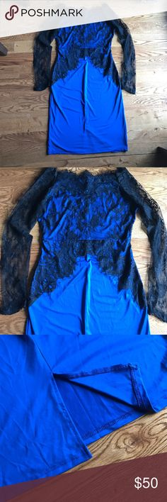 Vintage Off Shoulder Lace Long Sleeve Dress Gorgeous vintage royal blue and black lace, long sleeve, off shoulder, knee length, dress. NWOT. Dresses Long Sleeve