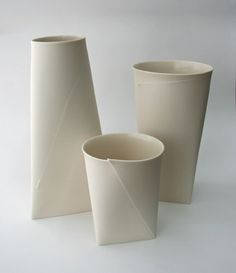 ROMI, FOLDED VASES: translated from paper to ceramic.