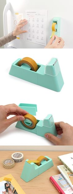 This handy tape dispenser features a strong magnetic base, letting you attach it to a fridge or whiteboard.