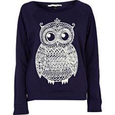 navy owl print top - long sleeve tops - t shirts / vests / sweats - women - River Island
