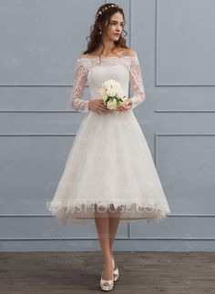 A-Line/Princess Off-the-Shoulder Asymmetrical Lace Wedding Dress With Beading - Wedding Dresses - JJsHouse Off White Wedding Dresses, Short Lace Wedding Dress, Wedding Dress With Veil, Wedding Dress Sleeves, Long Sleeve Wedding, Wedding Party Dresses, Lace Dress, Dresses With Sleeves, Mode Adidas