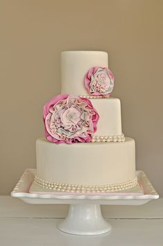 Vintage Chic Rosette & Pearl Cake. Bridal Shower?
