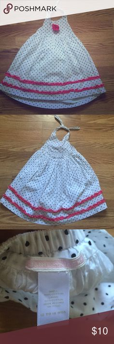 Janie and jack white summer dress Beautiful white polka dot dress with straps to wrap around neck and a pink bow in the front. In great condition. Janie and Jack Dresses Casual