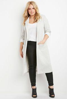 Plus Size Heathered Longline Jacket