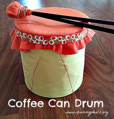 Kids love making noise but who wants to buy a 4 year old a drum kit? Instead make this and upcycle old coffee cans.
