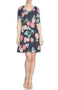 CeCe 'Floral Memoir' Knit A-Line Dress available at #Nordstrom