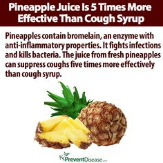Pineapple is full of enzymes that are makes it fives times more effective than cough syrup. Make your own DIY cough syrup using pineapple juice and honey. - I'm going to try this next time I have a cold Natural Remedies For Fibroids, Natural Health Remedies, Natural Cures, Herbal Remedies, Natural Healing, Flu Remedies, Strep Throat Remedies, Cough Remedies For Kids, Kids Cough