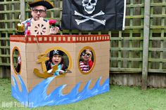 Cardboard Pirate Ship for a Pirate Party Photo Booth or some pretend pirate play! Cardboard Pirate Ship for a Pirate Party Photo Booth or some pretend pirate play! Deco Pirate, Pirate Day, Pirate Birthday, Pirate Theme, Pirate Flags, Diy Birthday, Birthday Gifts, Pirate Photo Booth, Cardboard Pirate Ship