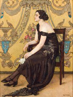 Józef Mehoffer, Róża Saronu  (Portret Zofii Minderowej, właścicielki eleganckiej pracowni krawieckiej; Fantazja ornamentalna), 1923