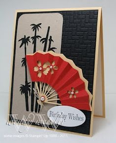 handmade card ... Asian theme ...   Fan from the pagoda cricut cartridge ... black, white & red ...