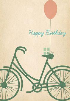Free Printable Birthday Bicycle Greeting Card