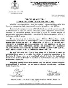 CRÓNICA FERROVIARIA: APDFA: Posición del gremio con relación a los serv...