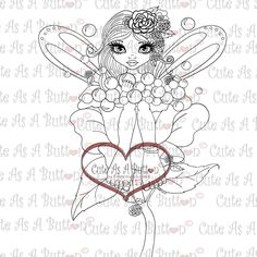 Adult Coloring, Coloring Pages, Fairy Coloring, Colorful Nail Designs, Types Of Craft, Illustrated Faith, Digi Stamps, Big Eyes, Line Art