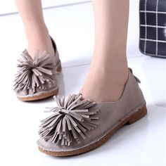 $13.99 Kwan Women's Boat Shoes Fringe Flower Suede Ballet Flats Loafers Moccasins Brown