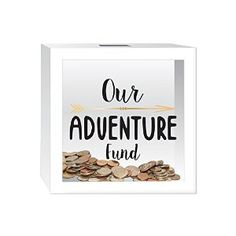 Such a charming way to save for your honeymoon! Hang this little shadow box bank on the wall and toss your cash and loose change into it when you come in the door. Nice way to save for travel and adventures together!