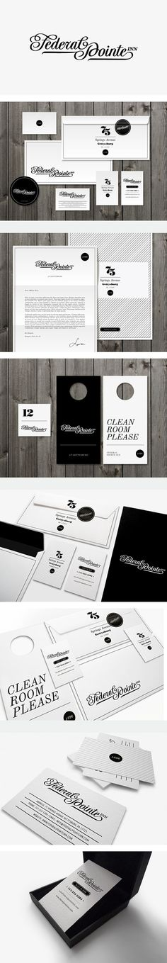 Cool Brand Identity Design on the Internet. Federal Pointe Inn. #branding #brandidentity #identitydesign