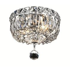 2528F8C/RC - Elegant Lighting 2528F8C/RC Tranquil 2 Light Flush Mount in Chrome with Royal Cut Clear Crystal - GoingLighting