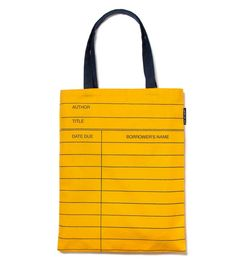 Library Card Tote | 35 Clever Gifts Any Book Lover Will Want To Keep For Themselves  Library cards and card catalogs...I miss you!!