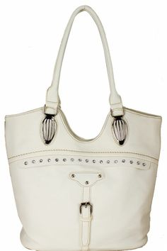 Stones Large Shoulder White Name Stones Large Shoulder White Style No. 1111 Price  Login  Stones Large Shoulder White          Leather-Feel Vinyl Material         7' in Drop Length         Carry Handle         Closing Zipper         Fabric Material Interior         Back Zipper Pocket         Stud and Rhinestones Design         Silver Toned Hardware  Color:  White Approximate Size: 12L x 11.5H x 2.5W Model:  1111