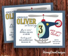 PRINTABLE Helicopter Birthday Party Invitation by HoneyBeanDesigns, $14.00