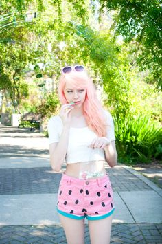 Kailey from Mermaidens in the Lazy Oaf Watermelon Denim Shorts || Get the shorts: http://www.nastygal.com/product/lazy-oaf-watermelon-denim-shorts?utm_source=pinterest&utm_medium=smm&utm_term=ngdib&utm_content=nasty_gals_do_it_better&utm_campaign=pinterest_nastygal