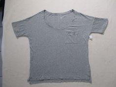 Old Navy Women Top M Gray Solid Boyfriend Short Sleeves Cotton 17132 #OldNavy #Boyfriend #Casual