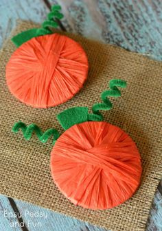 Raffia Wrapped Pumpkins {Pumpkin Crafts for Kids} - Easy Peasy and Fun