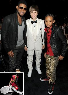 custom Jaden Smith Skytop II. Along side with Usher and Justin Bieber who fortuitously was wearing a Supra Skytop too