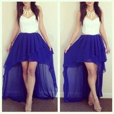 White Royal Blue High Low Hem Dress @ Amiclubwear sexy dresses ...:
