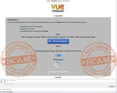 """Vue Cinemas """"Five Free Tickets"""" Facebook Scam"""