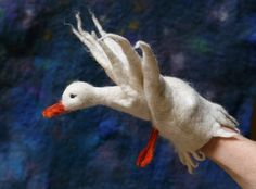 felted goose puppet.