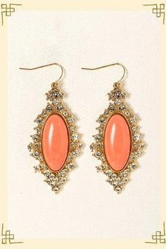 Anastasia Statement Earrings from Francesca's, Color: Coral