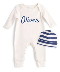 Tesa Babe | Ivory Personalized Playsuit & Indigo Stripe Beanie - Infant