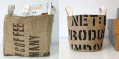 Bags from re-purposed, recycled coffee sacks!  Lined with a soft unbleached cotton. by Mayamade.