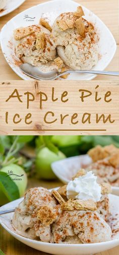 Apple Pie Ice Cream have your apple pie and your a la mode all in one delicious frozen treat that's classic comfort food as American as Apple Pie Apple Pie Ice Cream, Ice Cream Pies, Ice Cream Cookies, Homemade Ice Cream, Frozen Desserts, Frozen Treats, Easy Desserts, Delicious Desserts, Best Dessert Recipes