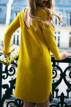 Long Sleeve Hollow Back Yellow Dress