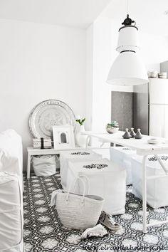 dining area // HAATI CHAI White Tiles, Moroccan Style, Modern Moroccan Decor, Moroccan Kitchen, Moroccan Interiors, Moroccan Design, Bohemian Kitchen, White Interiors, Contemporary Decor