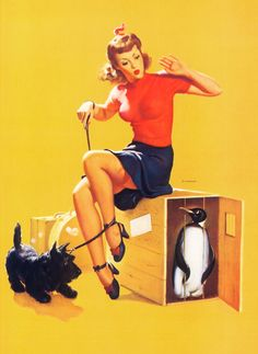 The Pin-up, Penguin and Scottie ~ Gil Elvgren, ca. 1940s