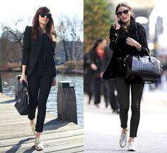 Look todo preto com sapato metalizado. Silver shoes in total black look.