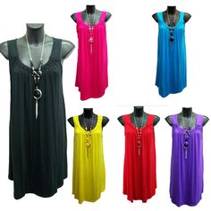 New Ladies Sleeveless Summer Tunic Top With Necklace Sizes 14, 16,18,20,22,24